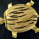 Vintage Gold Tone Textured Metal Rhinestone Turtle pin/Brooch