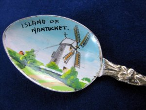 Vintage Island of Nantucket/Windmill Souvenir Enamel Bowl Spoon