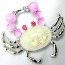 Pink Cabochon Faux Opal Rhinestone Figural Crab Pin/Brooch