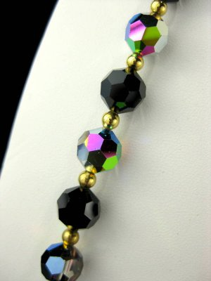 Sparkly Vintage Jet Black and Aurora Borealis 24 Inch Long Chain Strung Crystal Bead Necklace