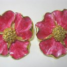 Poppy Flower Fuchsia Pink Enamel Clip Style Earrings