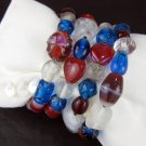 Patriotic Glass Bead Wide Wrap Bracelet Red White and Blue