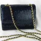 Whiting and Davis Navy Blue Metal Mesh Crossbody Shoulder Bag Purse
