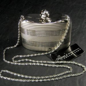 Lana�s Collection Silver-Tone Hard Case Evening Purse with Rhinestone Ball Clasp