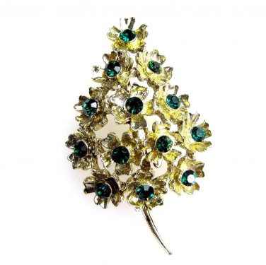 Christmas Tree Brooch Floral with Emerald Rhinestones
