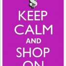 Keep Calm and Shop On Purple Metal Parking Sign Made n USA