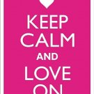 Keep Calm and  Love On Pink Metal Parking Sign Made n USA