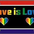 Love is Love Gay Pride Metal License Tag Rainbow Colors Made in America