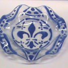 Fused Enamel 5 1/2 inch fluted bowl Cobalt Fleur d&#39;lys