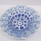 "Fused 6"" fluted bowl - Light Blue / Dark Blue  Spotted"