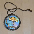 Fan / Ceiling Light Chain Pull - Iridescent Sky Blue with Brass Flamingo