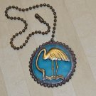 Fan / Ceiling Light Pull Chain - Opalescent Sky Blue Glass with Brass Flamingo