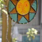Stained Glass WindChime - Yellow Sun Face with Ivy Chimes