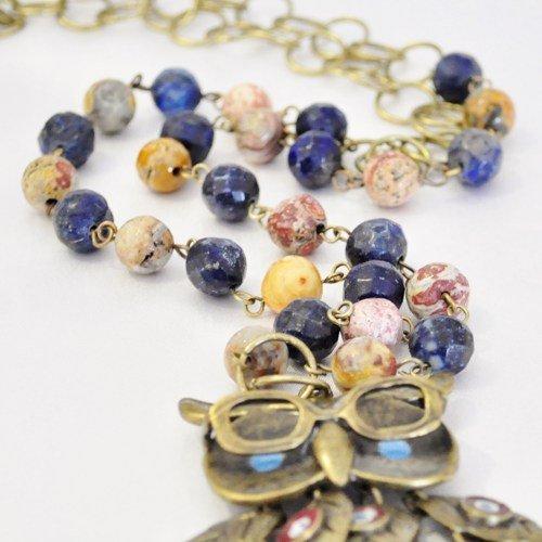Wise old owl boho pendant necklace