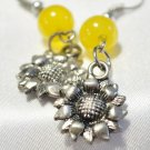 Sunflower earring with bright yellow jade bead accent