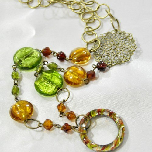 Glass bead necklace in natural tones
