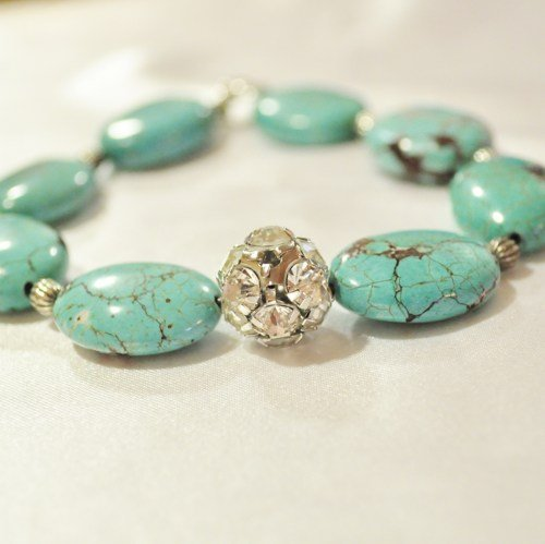 Bracelet turquoise and pave
