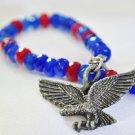 Bracelet sapphire and red jade patriotic vintage eagle