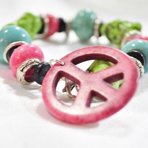 Bracelet chunky turquoise peace sign