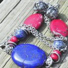 Necklace southwestern chunky in red and blue on silver with wire wrapped accents