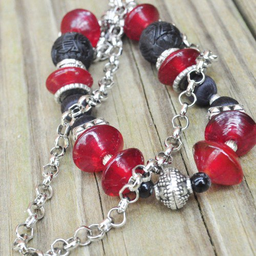 Necklace red and black asian inspired with cinnebar and silver