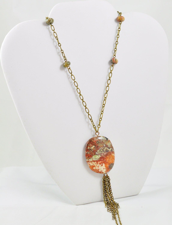 Beaded Pendant Necklace Jasper With Fringe Tassel