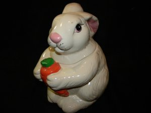 Loomco Easter Rabbit Cookie Jar w/Carrot 10.5&quot;