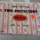 Vintage Hadway Two Pillow Protectors Pink Flowers New!