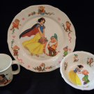 Snow White & Seven Dwarf Plate Plastic Set 3pc Disney Bowl Cup Plate