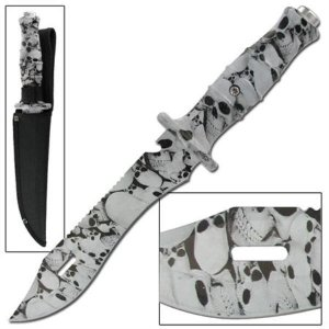 12&quot; inch Skull Camouflage Bowie Knife w/ Sheath