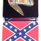 7.25&quot; General Stuart Confederate Folding Knife w/ Metal Case