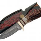 "8.25"" Real Damascus Steel Skinner Hunting Hunting Knife w/ Sheath"