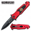 "7.9"" Spring Assisted Fire Fighter Rescue Knife by Tac-Force - Red"