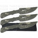 "6"" Digital Camouflage Throwing Knife Set w/ Sheath - 3 Piece"