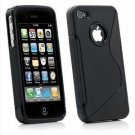 Iphone 4, 4g, 4gs TPU s&#39;line rubber skin case (BLACK) + Front and back screen protector