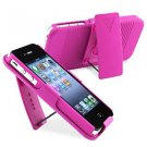 Deluxe Rubberized Hard Case Cover + Belt Clip Holster w/ Stand For iPhone 4S 4G (PINK)
