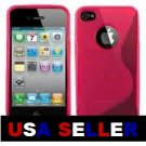 Iphone 4, 4g, 4gs TPU s&#39;line rubber skin case (PINK) + Front and back screen protector
