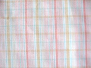 "Vintage Pastel Pink Blue Plaid Cotton Fabric 44"" x 40"""