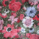 "Vintage Pink on Green Floral Cotton Fabric 42"" x 27"""