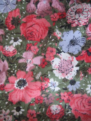 """Vintage Pink on Green Floral Cotton Fabric 42"""" x 27"""""""