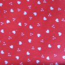 "Vintage Red with Small White Hearts Cotton Fabric 44"" x 44"""