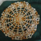 "Vintage 19"" Pineapple Gold Yellow Variegated Crocheted Doily"