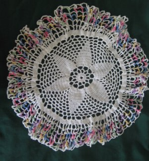 """Vintage 15"""" White Pineapple Crocheted Doily with Blue Pink Yellow Varigated Edge"""