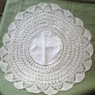 "Vintage Hand Crocheted Edge Linen Centerpiece 18"" white Doily"