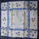 New with Tags Hand Rolled Linen Hanky Blue with Leaves Philippine Made