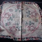 Vintage Large Rose Hankie with Nice Crochet Edging