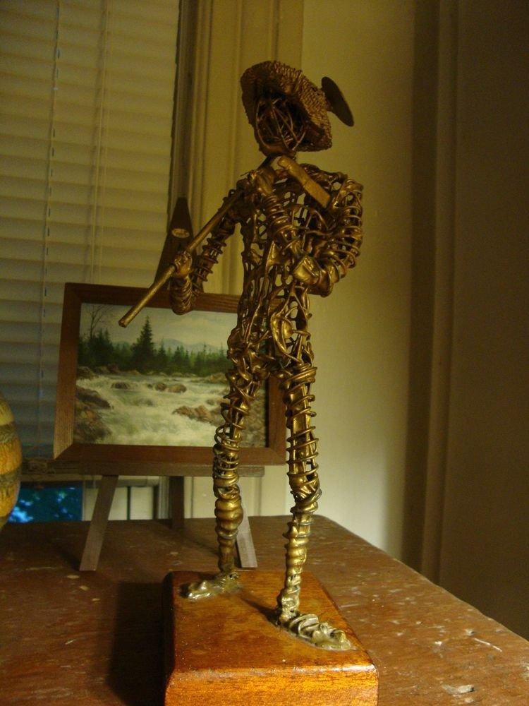 Mid Century Modern Brutalist Wire Quixote Sculpture Signed C. Mongual