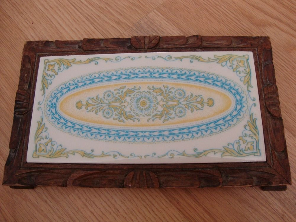 Vintage Monterrey, Mexico Tile in Hand Carved Frame Pastel Colors