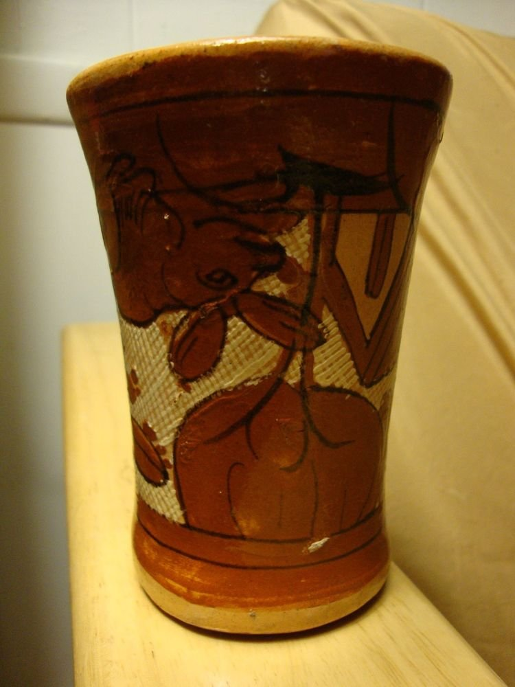 Vintage Tlaquepaque Mexico Mexican Tumbler with Upside Down Rabbit & Scenery