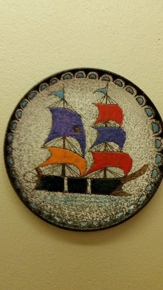 Vintage Italy Italian Decorative Ship Hanging Plate